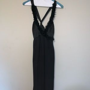 BCBG black gown with stunning open back